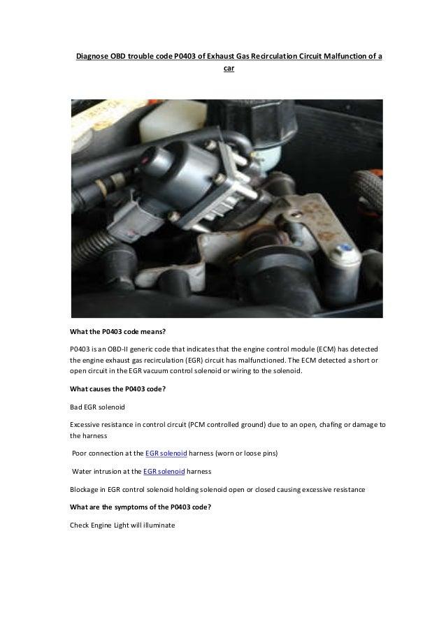 Partsavatar Car Parts, Canada - Diagnose OBD trouble code P0403