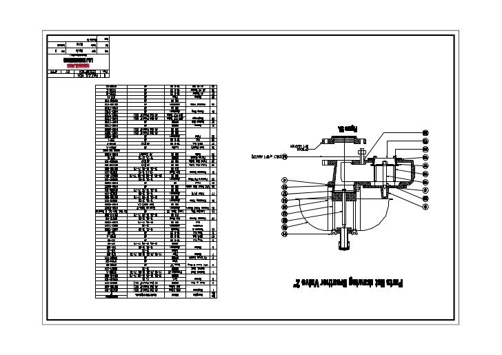 Parts list drawing breather valve