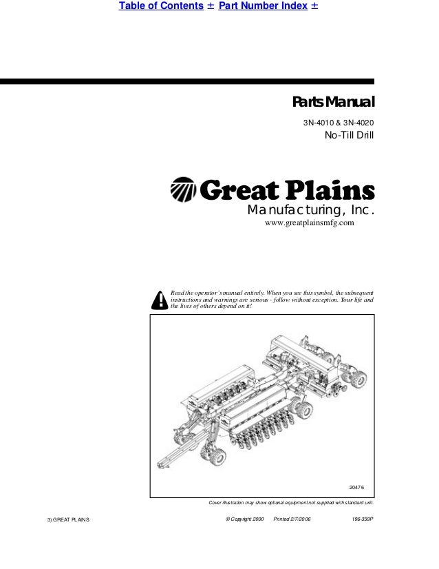 Great Plains Parts Manual 3 N 4010 Cover Illustration May Show Optional Equipment Not Supplied With Standard Unit © Copyright 2000 Printed: 2000 7 3 Engine Parts Diagram At Jornalmilenio.com