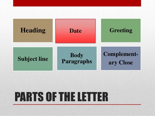 Parts Of A Formal Letter