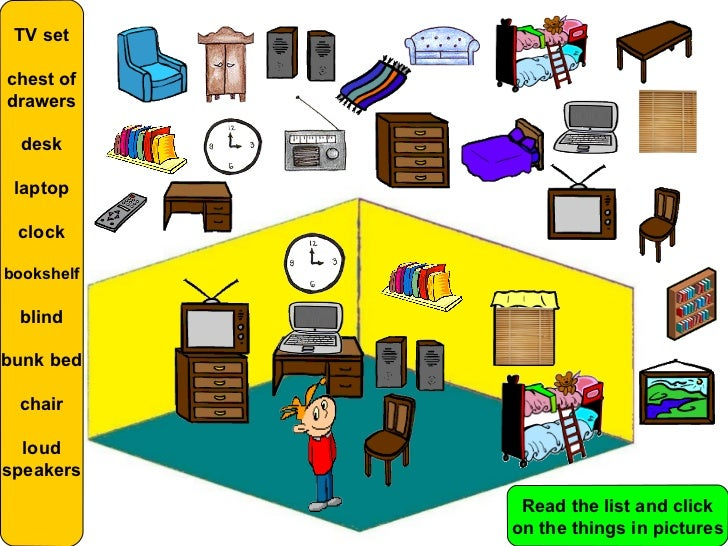 Amazing TV Setchest Ofdrawers Desk Laptop Clockbookshelf Blindbunk Bed Chair  Loudspeakers Read The List And Click On The Things In Pictures ...