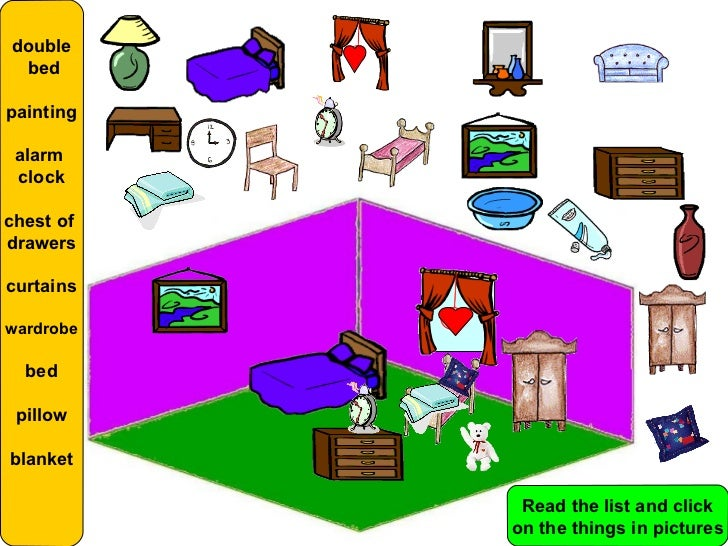 BEDROOM; 8. Double Bedpainting Alarm Clockchest Ofdrawerscurtainswardrobe  Bed Pillowblanket Read The List And Click On The Things In Pictures ...