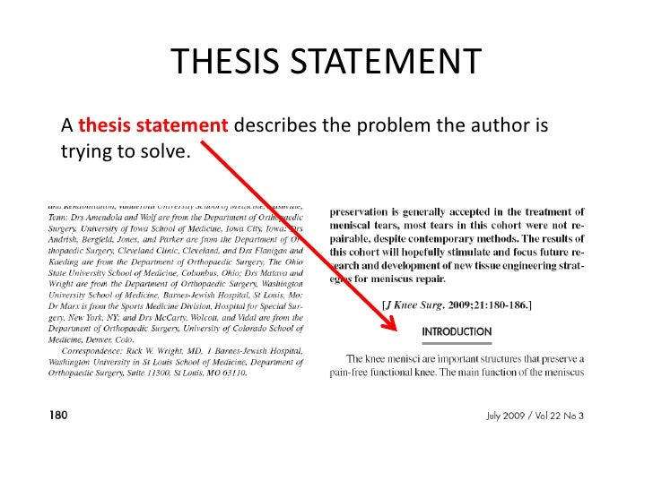 Where do you find a thesis statement in a newspaper article?