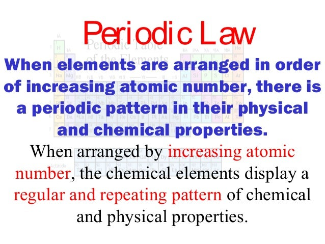 Periodic Law When Elements ...