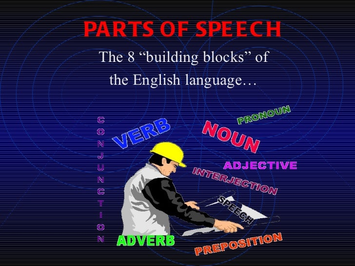 """PARTS OF SPEECH The 8 """"building blocks"""" of the English language…"""