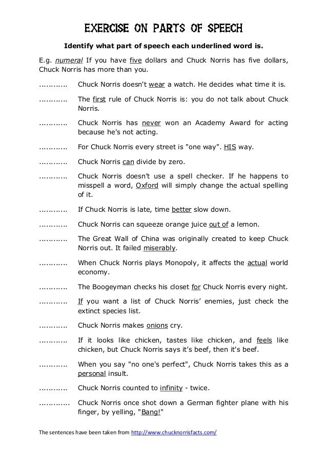 The sentences have been taken from http://www.chucknorrisfacts.com/EXERCISE ON PARTS OF SPEECHEXERCISE ON PARTS OF SPEECHE...
