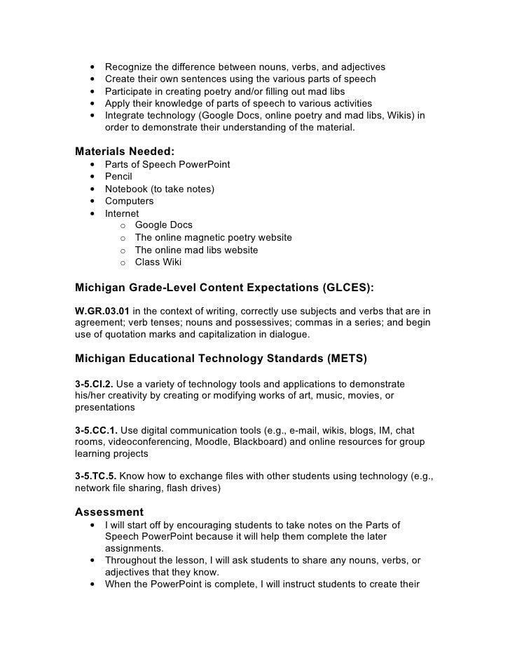Parts of speech Lesson Plan Info.