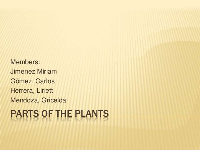 Members: Jimenez,Miriam Gómez, Carlos Herrera, Liriett Mendoza, Gricelda  PARTS OF THE PLANTS