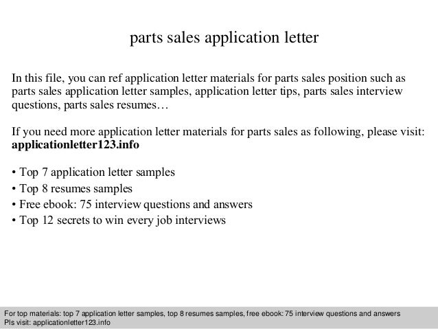 Parts Sales Application Letter
