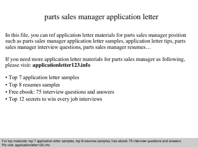 Parts Sales Manager Application Letter