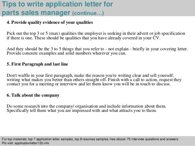 Parts Sales Manager Application Letter