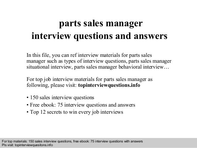 parts sales manager interview questions and answers
