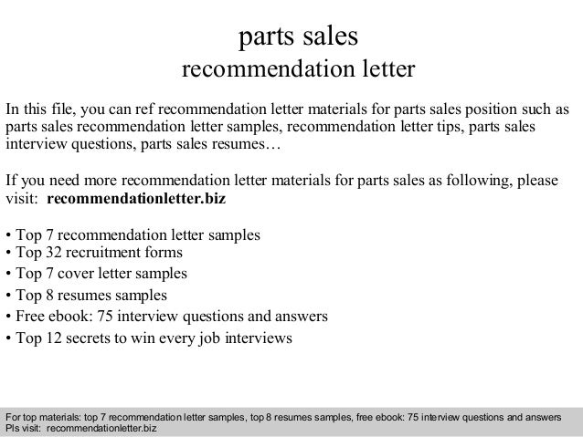 Parts Sales Recommendation Letter