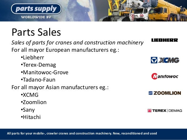 Parts Sales All parts for your mobile-, crawler cranes and construction machinery. New, reconditioned and used Sales of pa...