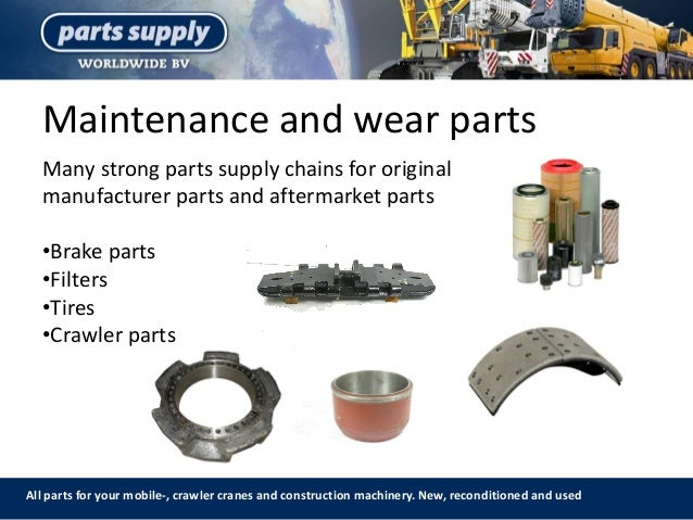 Maintenance and wear parts All parts for your mobile-, crawler cranes and construction machinery. New, reconditioned and u...