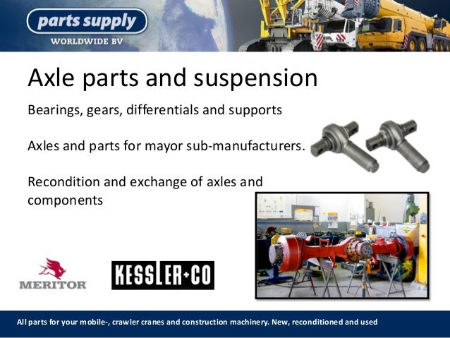 Axle parts and suspension All parts for your mobile-, crawler cranes and construction machinery. New, reconditioned and us...