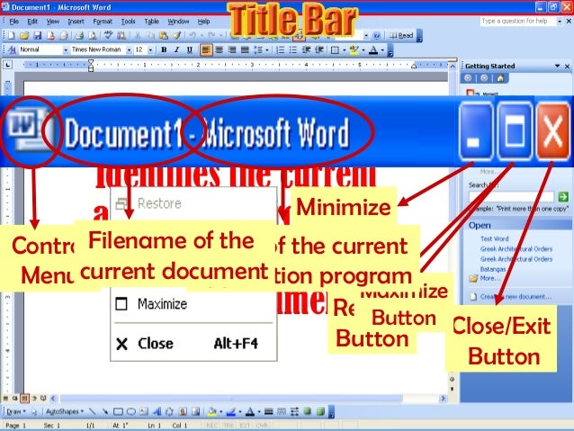 Identifies the current application program; shows the filename of the current document. Control Menu Minimize Button Resto...