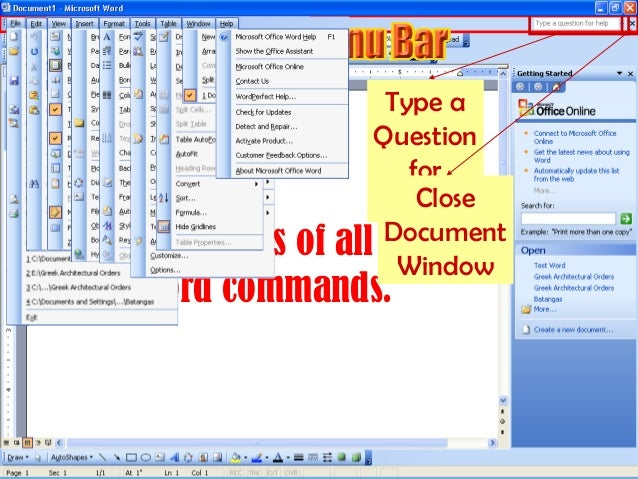 parts of microsoft word pdf