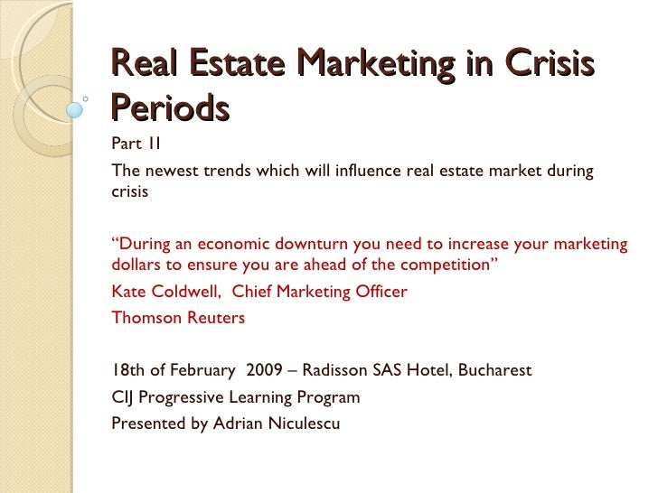 """Real Estate Marketing in Crisis Periods Part 1I The newest trends which will influence real estate market during crisis  """"..."""
