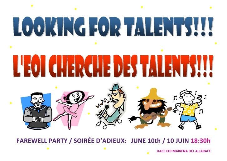 FAREWELL PARTY / SOIRÉE D'ADIEUX: JUNE 10th / 10 JUIN 18:30h                                            DACE EOI MAIRENA D...