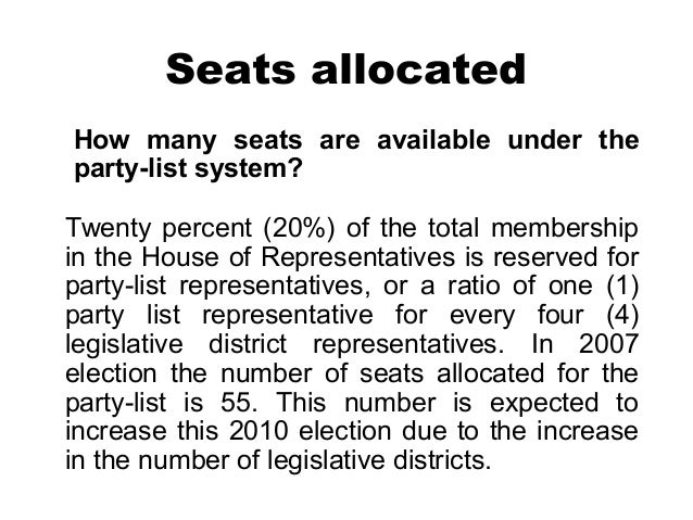 LEGISLATIVE BRANCH: PHILIPPINE PARTY LIST SYSTEM