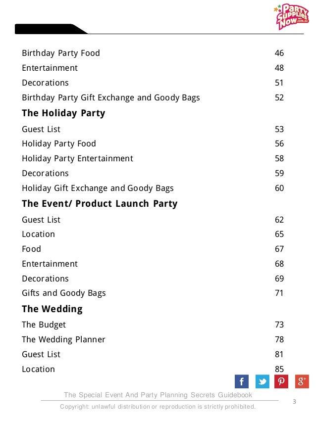 Party Planning Secrets Revealed E-book