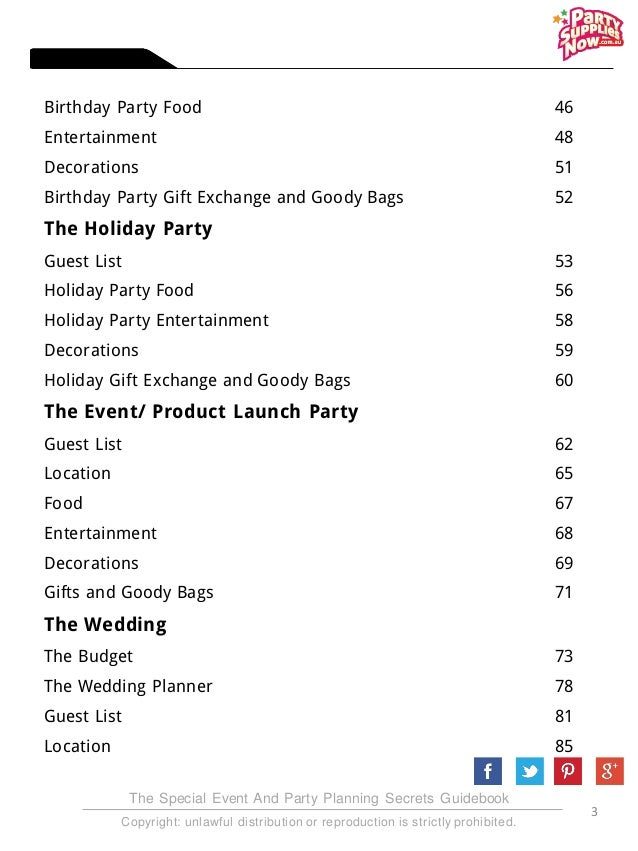 Party Planning Secrets Revealed E Book