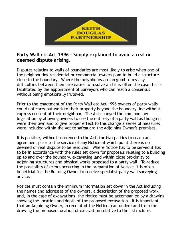 Party wall dispute by keith douglas partnership for Party wall act 1996