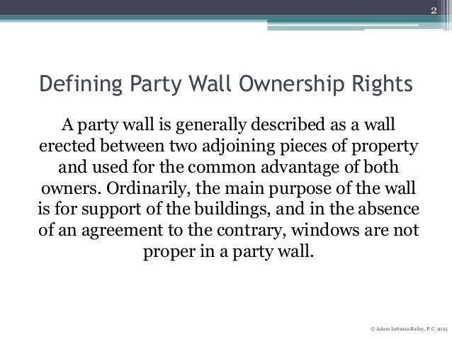 new york 39 s party wall laws On what happens if no party wall agreement