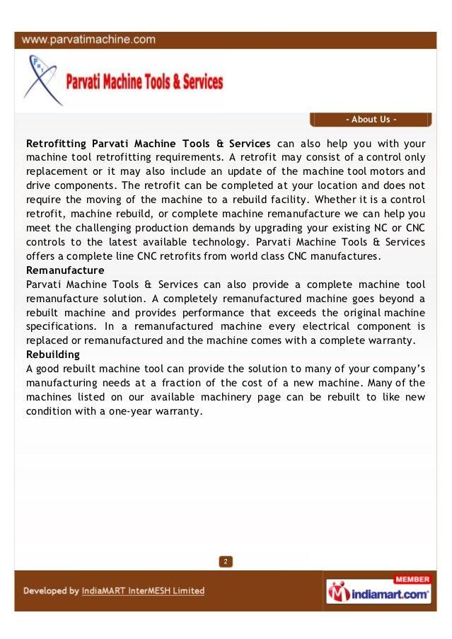 Parvati Machine Tools & Services, Pune, Retrofitting of Machines Slide 2