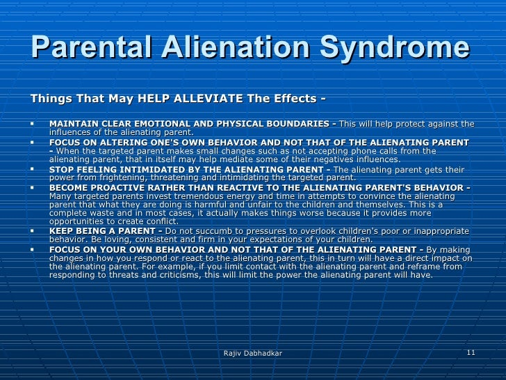 parental alienation syndrome Stephen henderson speaks with dr amy jl baker one of the country's leading  experts on parental alienation syndrome (pas), which affects.