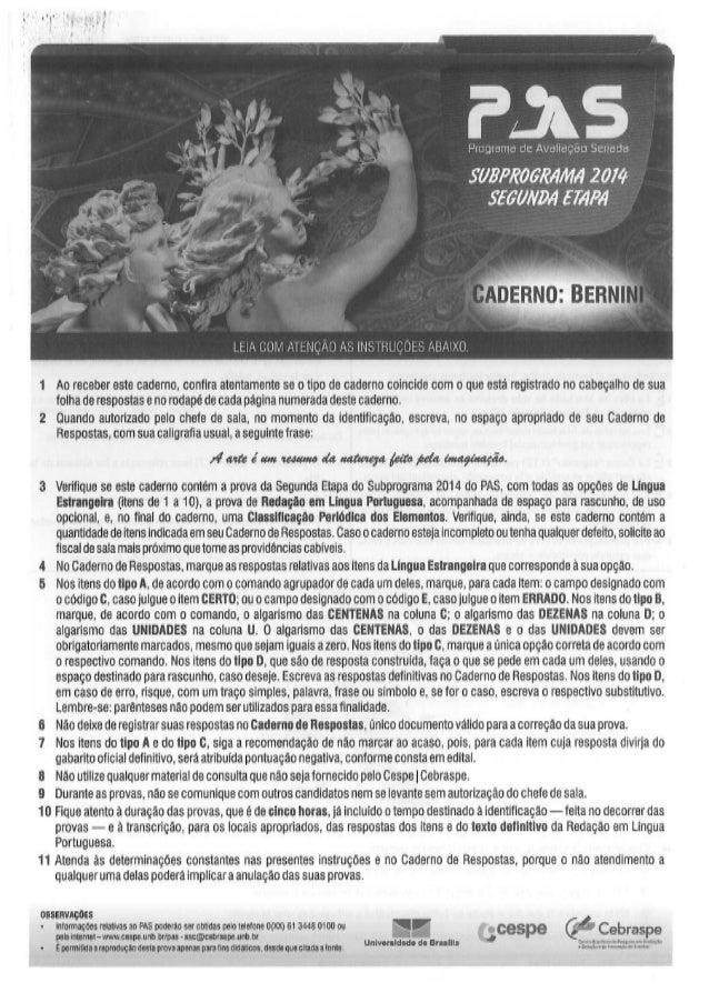 Gabarito Pas 2 Subprograma 2014 Caderno Bernini