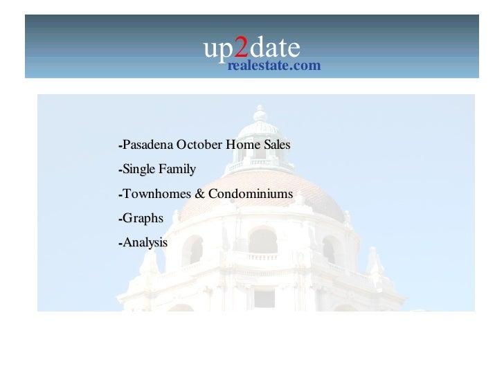 up 2 date realestate.com up 2 date  Real Estate Market Report for Pasadena  <ul><li>Pasadena October Home Sales </li></ul>...