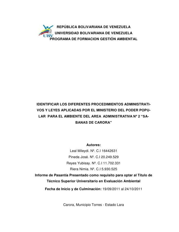 REPÚBLICA BOLIVARIANA DE VENEZUELA           UNIVERSIDAD BOLIVARIANA DE VENEZUELA        PROGRAMA DE FORMACION GESTIÓN AMB...