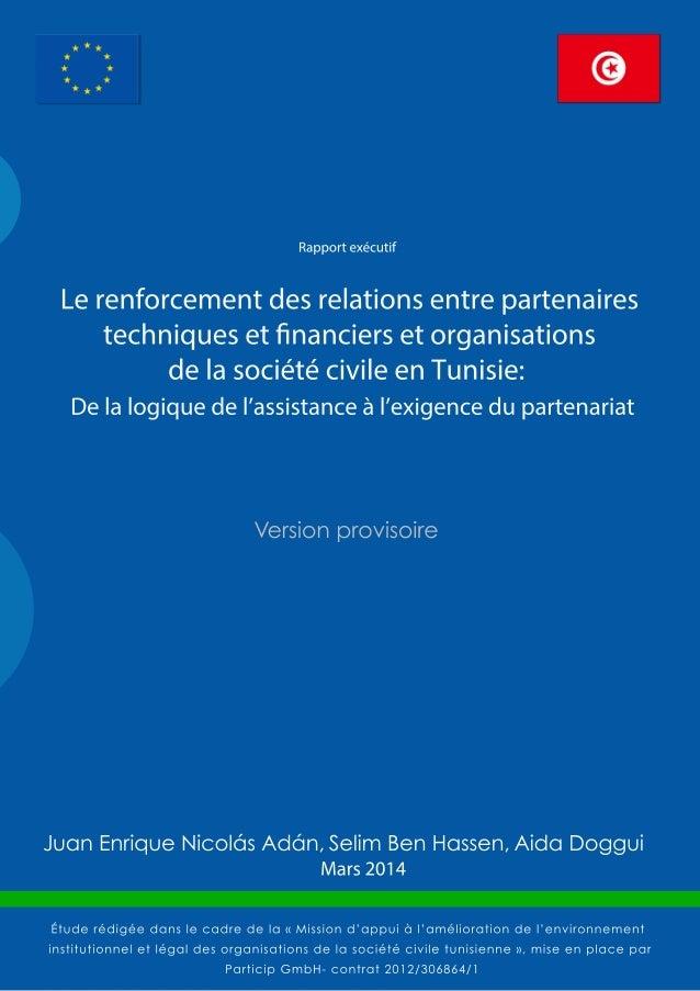 Le renforcement des relations entre partenaires techniques et financiers et organisations de la société civile en Tunisie ...