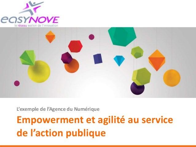 Empowerment et agilité au service de l'action publique L'exemple de l'Agence du Numérique