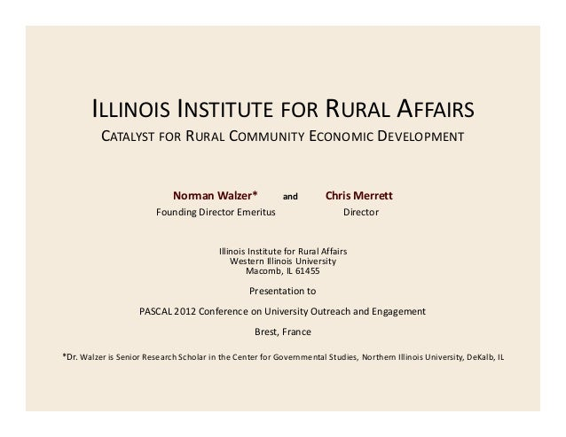 ILLINOIS INSTITUTE FOR RURAL AFFAIRS CATALYST FOR RURAL COMMUNITY ECONOMIC DEVELOPMENT  Norman Walzer*         and  Foundi...