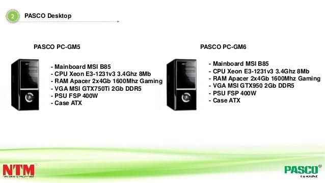 - Mainboard MSI B85 - CPU Xeon E3-1231v3 3.4Ghz 8Mb - RAM Apacer 2x4Gb 1600Mhz Gaming - VGA MSI GTX750Ti 2Gb DDR5 - PSU FS...