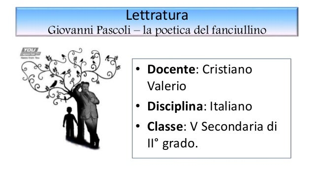 Lettratura Giovanni Pascoli – la poetica del fanciullino • Docente: Cristiano Valerio • Disciplina: Italiano • Classe: V S...