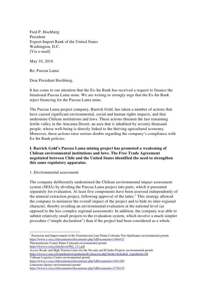 Fred P. Hochberg President Export-Import Bank of the United States Washington, D.C. [Via e-mail]  May 10, 2010  Re: Pascua...