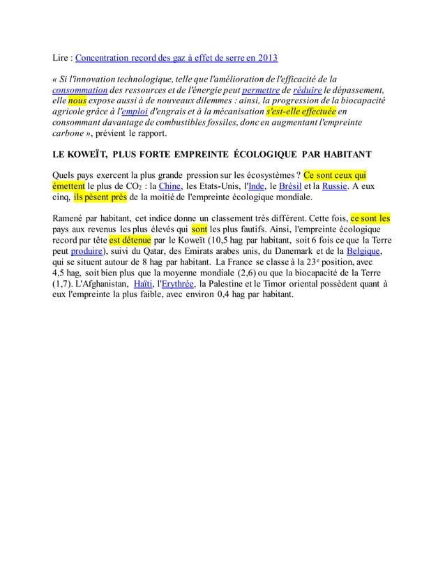 Lire : Concentration record des gaz à effet de serre en 2013 « Si l'innovation technologique, telle que l'amélioration de ...