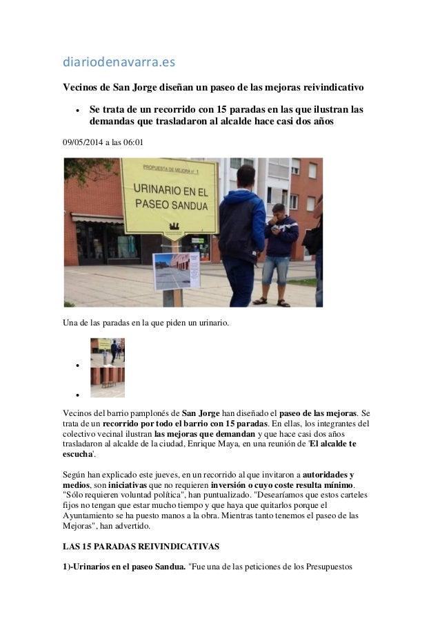 diariodenavarra.es Vecinos de San Jorge diseñan un paseo de las mejoras reivindicativo  Se trata de un recorrido con 15 p...