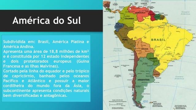 América Platina País Pop Absoluta (milhões de hab) Superfície (km²) Pop relativa (hab/km²) Argentina 39.100.400 2.736.690 ...