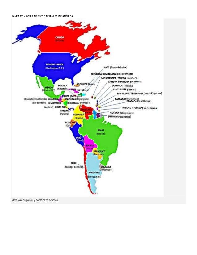 Pases y capitales de amrica