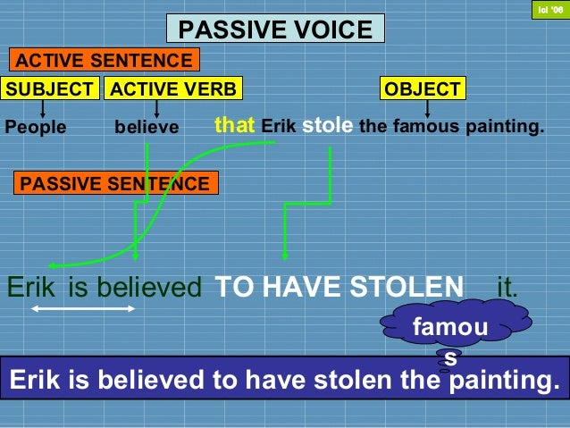 PASSIVE VOICEPeople that Erik stole the famous painting.believeACTIVE SENTENCEErikThat Erik stole the famous painting is b...