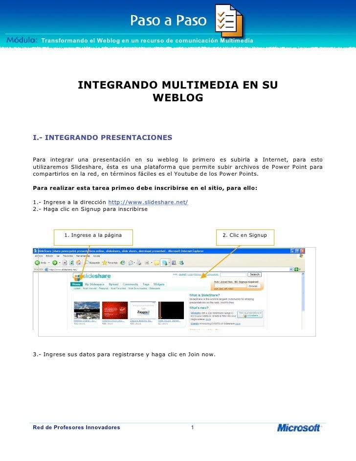 Módulo: Transformando el Weblog en un recurso de comunicación Multimedia    Transformando el Weblog en un recurso de comun...
