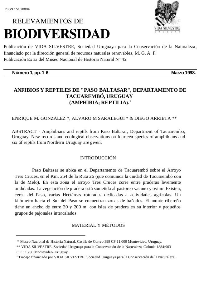 """ANFIBIOS Y REPTILES DE """"PASO BALTASAR"""", DEPARTAMENTO DE TACUAREMBÓ, URUGUAY (AMPHIBIA; REPTILIA).1 ENRIQUE M. GONZÁLEZ *, ..."""
