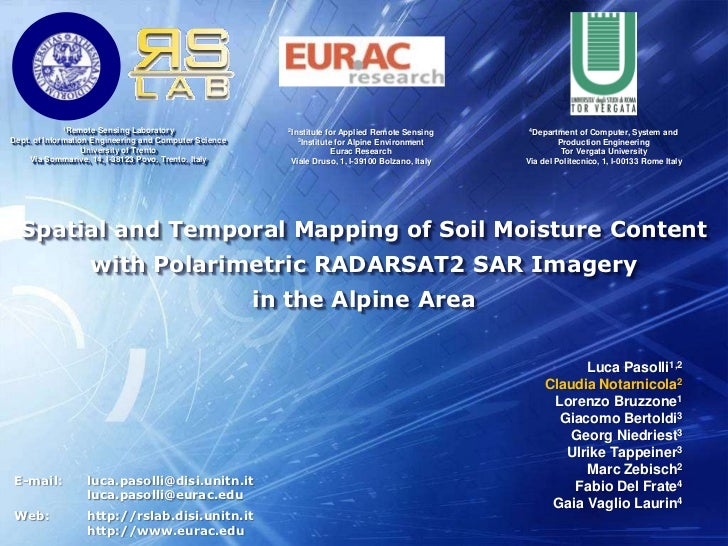 Spatial and Temporal Mapping of Soil Moisture Content <br />with Polarimetric RADARSAT2 SAR Imagery <br />in the Alpine Ar...