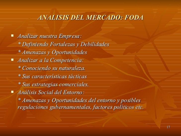 ANALISIS DEL MERCADO: FODA <ul><li>Analizar nuestra Empresa: </li></ul><ul><li>* Definiendo Fortalezas y Debilidades </li>...