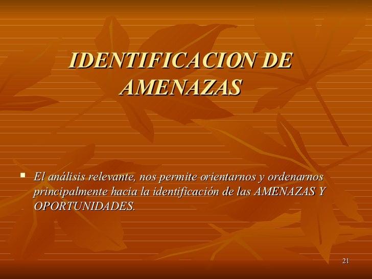 IDENTIFICACION DE AMENAZAS <ul><li>El análisis relevante, nos permite orientarnos y ordenarnos principalmente hacia la ide...